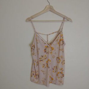 Free People Yellow Floral Cutout Top